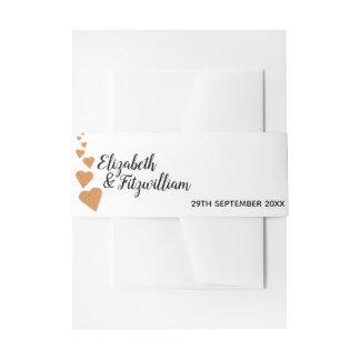 Copper Glitter Hearts Wedding Invitation Band Invitation Belly Band