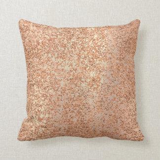 Copper Glitter Pink Rose Gold Blush Sparkly Cushion
