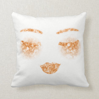Copper Gold Makeup Lips Lashes Eye Sparkly Glitter Throw Pillow