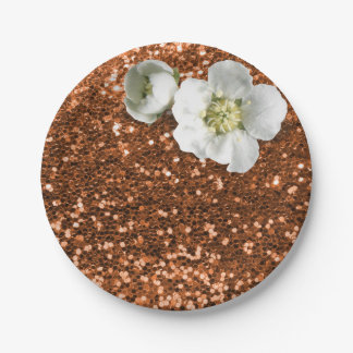 Copper Gold Maroon White Jasmine Glitter 7 Inch Paper Plate
