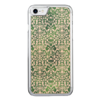 Copper Green Sea Weed Distressed Damask Patina Carved iPhone 7 Case