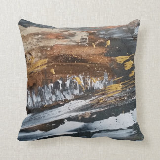 Copper, Grey, Gold, White Abstract Art Pillow