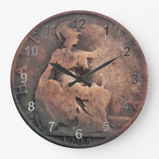 Copper Half Penny Coin Large Clock