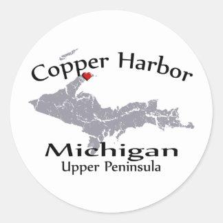 Copper Harbor Michigan Heart Heart Map  Sticker