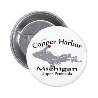 Copper Harbor Michigan Heart Map Design Button