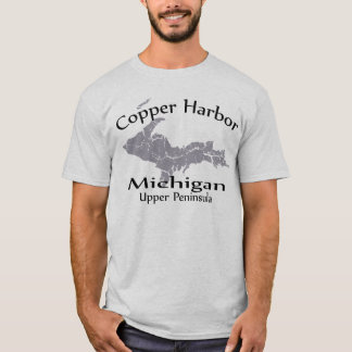Copper Harbor Michigan Map Design T-shirt