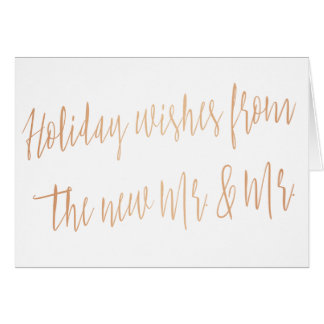 "Copper ""Holidays wishes from the new Mr. & Mr."" Card"