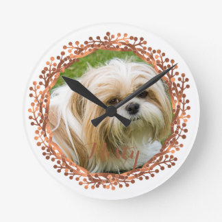 Copper-look berry wreath photo design round clock