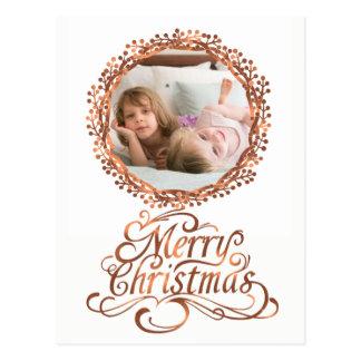 Copper-look Merry Christmas script & berry wreath Postcard