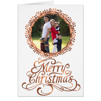 Copper-look Merry Christmas script design Card