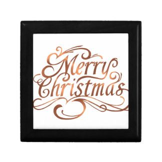 Copper-look Merry Christmas script design Gift Box