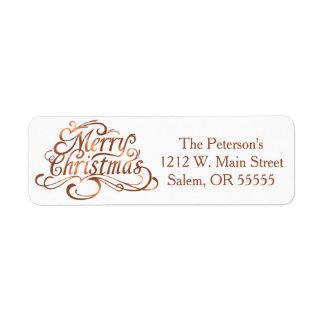 Copper-look Merry Christmas script design Return Address Label