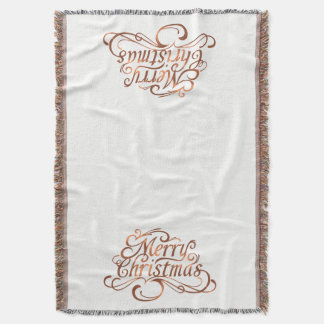 Copper-look Merry Christmas script design Throw Blanket