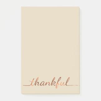Copper-look Thankful script design Post-it Notes