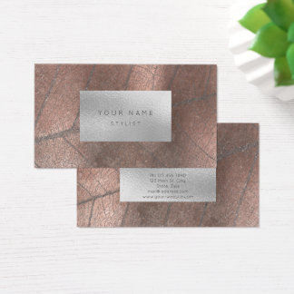 Copper  Metal Silver Gray White Foil Botanical Business Card