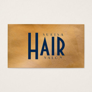 Copper Metallic Hair Salon Business Cards