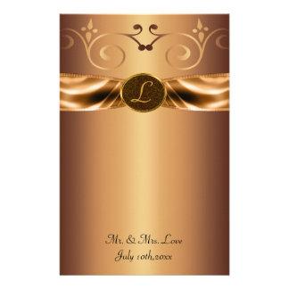 Copper Metallic Scrolls & Ribbon Monogram Wedding Personalized Stationery
