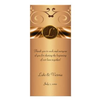 Copper Metallic Scrolls & Ribbon Monogram Wedding Personalised Rack Card