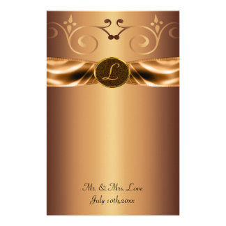 Copper Metallic Scrolls & Ribbon Monogram Wedding Custom Stationery