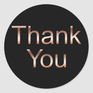 Copper on BlackThank You Stickers