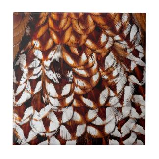 Copper Pheasant Feather Design Ceramic Tile