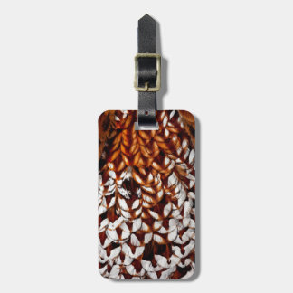 Copper Pheasant Feather Design Luggage Tag