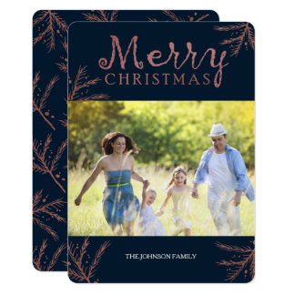 Copper Pine Branch Christmas Card