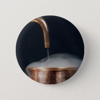 copper pipe of a distillery with steam. 6 cm round badge