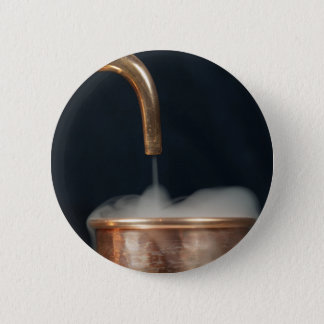 Copper pipe with steam 6 cm round badge