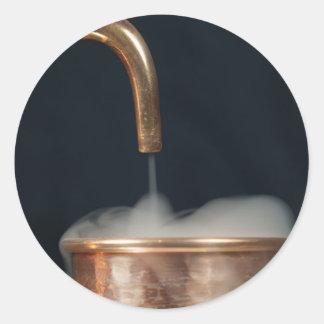 Copper pipe with steam classic round sticker