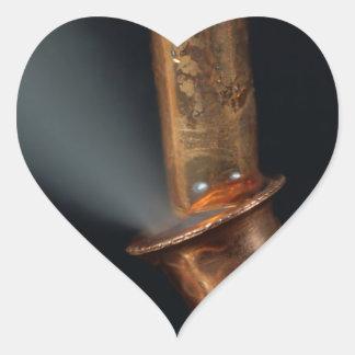 Copper pipe with steam heart sticker