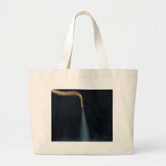 Copper pipe with steam large tote bag