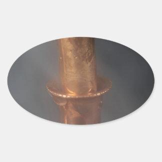 Copper pipe with steam oval sticker