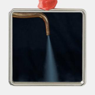 Copper pipe with steam Silver-Colored square decoration