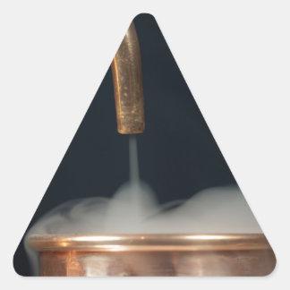 Copper pipe with steam triangle sticker