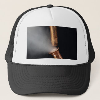 Copper pipe with steam trucker hat