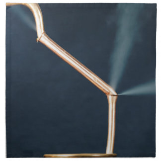 Copper pipes with a leak and steam. napkin