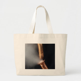 Copper pipes with steam large tote bag