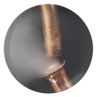 Copper pipes with steam plate