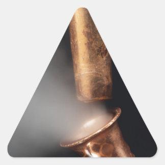 Copper pipes with steam triangle sticker