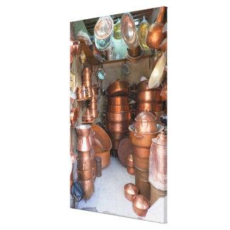 Copper Pots At Market Canvas Print