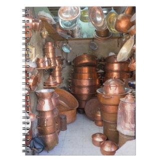 Copper Pots At Market Spiral Notebook