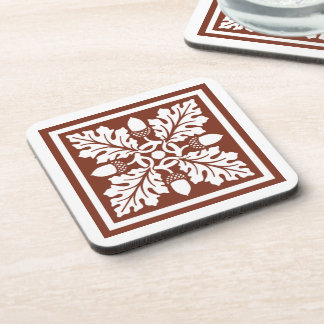 Copper Red Acorn and Leaf Tile Design Coaster
