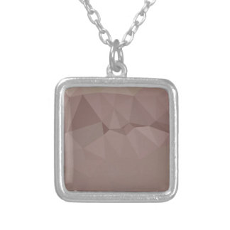 Copper Rose Abstract Low Polygon Background Silver Plated Necklace