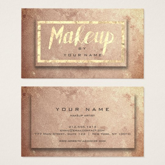 Copper Rose Gold Blush Beauty Makeup Artist Glam Business Card