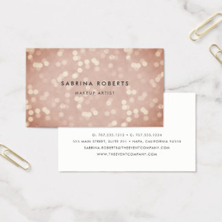 Copper Rose Gold Bokeh Business Card