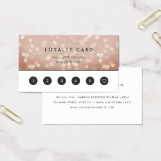 Copper Rose Gold Bokeh | Loyalty Business Card