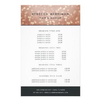Copper Rose Gold Bokeh Pricing & Services 14 Cm X 21.5 Cm Flyer