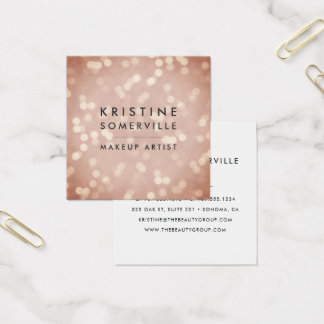 Copper Rose Gold Bokeh Square Square Business Card