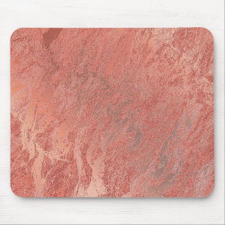 Copper Rose Gold Coral Stone Blush Marble Mouse Pad
